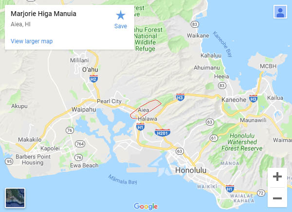 Map of Marjorie Higa Manuia's location